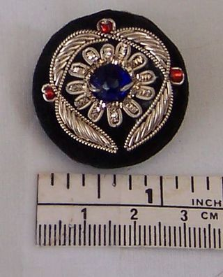 Goldwork Button Silver Blue Red