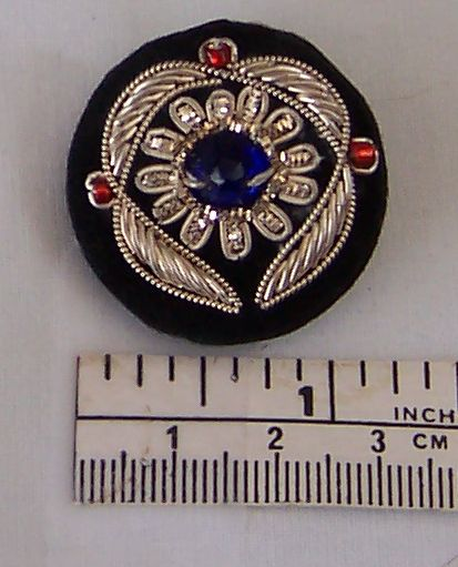 Goldwork Button Silver Blue Red