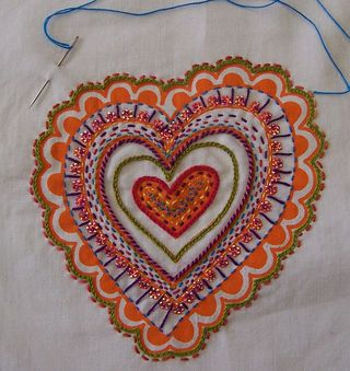 Prints Charming Heart Embroidery Panel