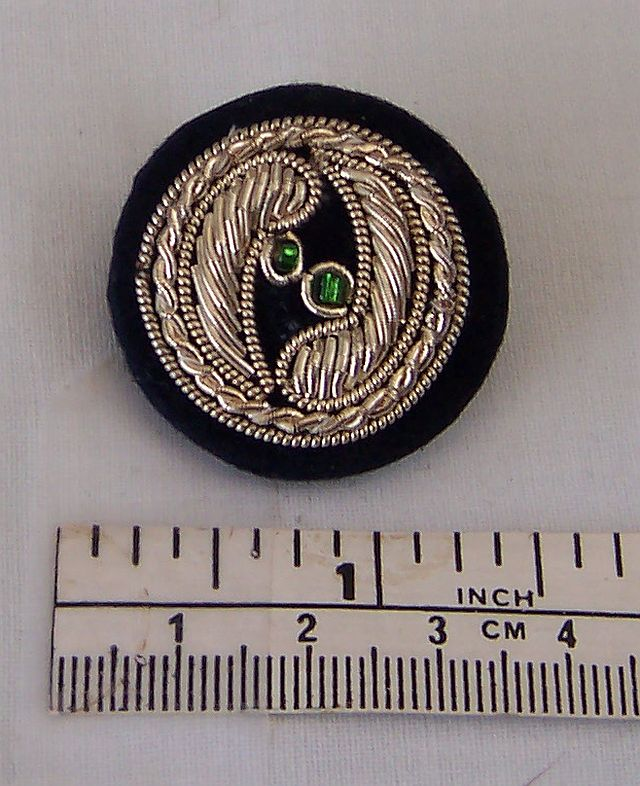 Goldwork Button Silver Green